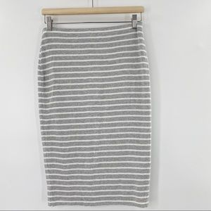 Bailey 44 striped double lined pencil skirt grey size M